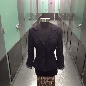 NANETTE LEPORE BLUE PIN STRIPPED BLAZER